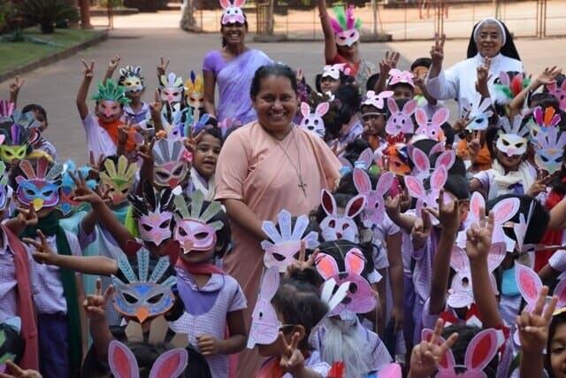 UKG kids with Colourful Masks