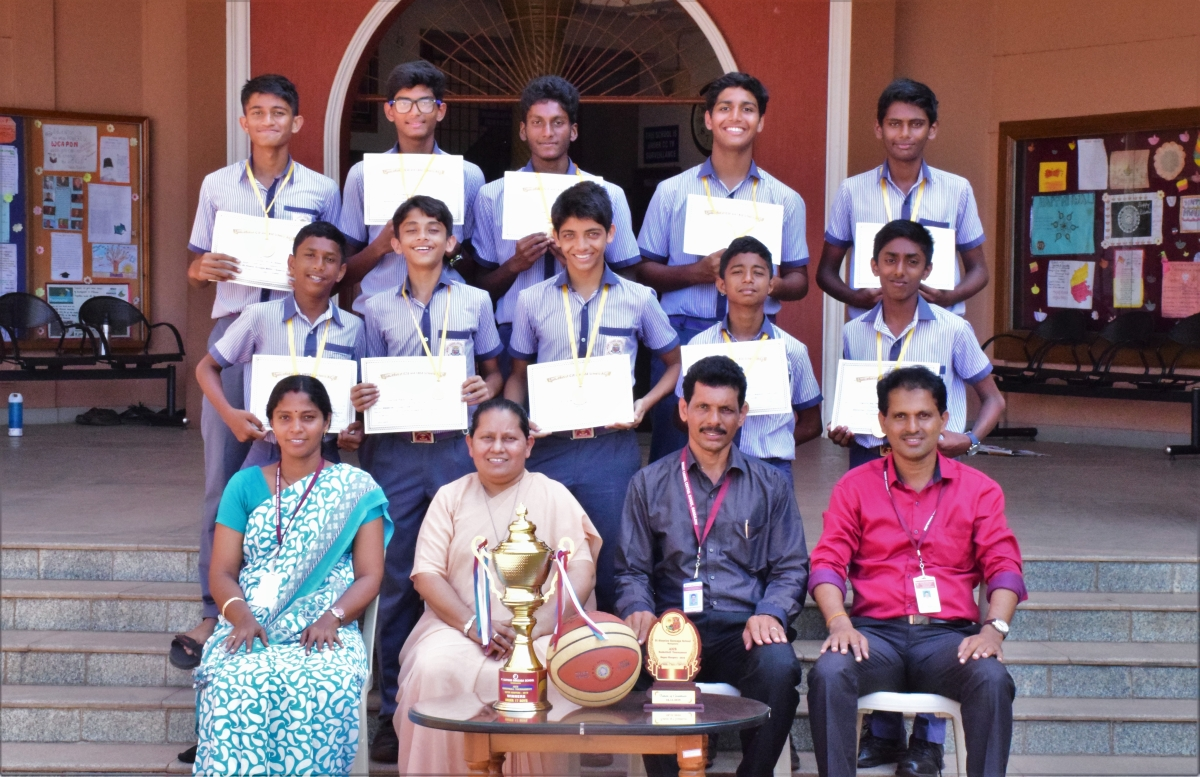 Winner's trophy in the AICS Inter School Basketball Tournament under Boys Category