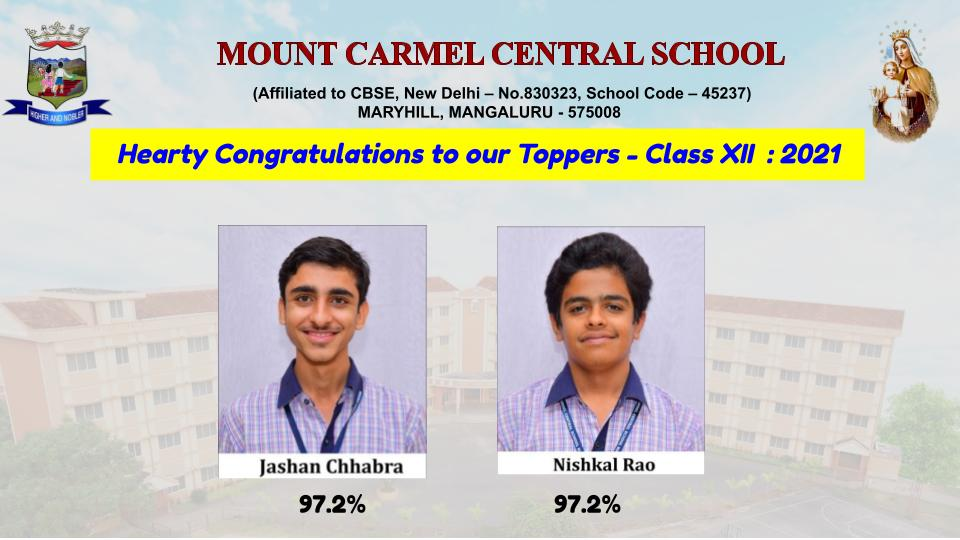 Excellent Results in CBSE Class XII - 2021